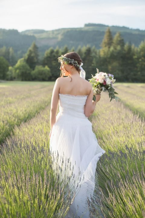 Romantic Bohemian Bride Surrounded by Lavender