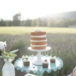 Petite Naked Wedding Cake | Ashley Cook Photography | Vintage Lace, Sunshine, and Lavender Fields Wedding Styled Shoot