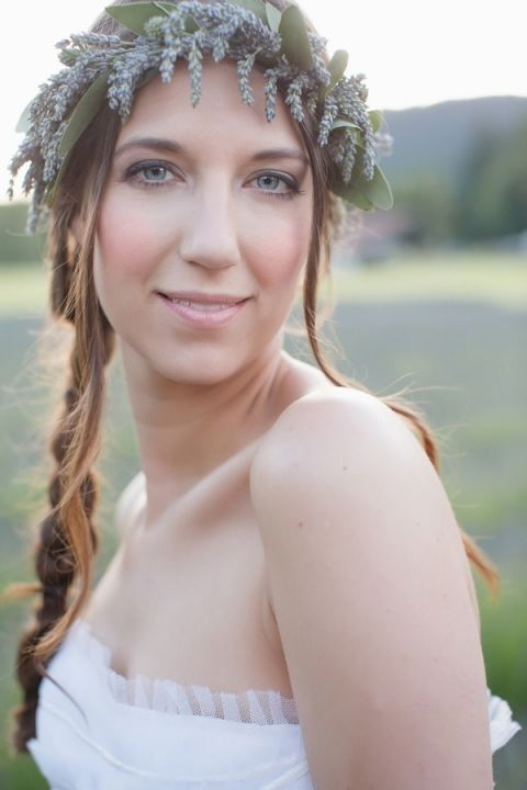 Loose Bridal Braid with Natural Makeup and a Lavender Crown