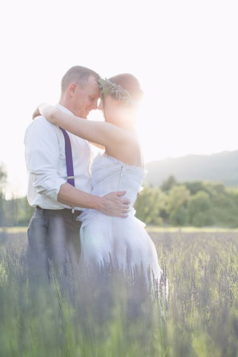 Magic Hour Wedding Portraits in a Lavender Meadow