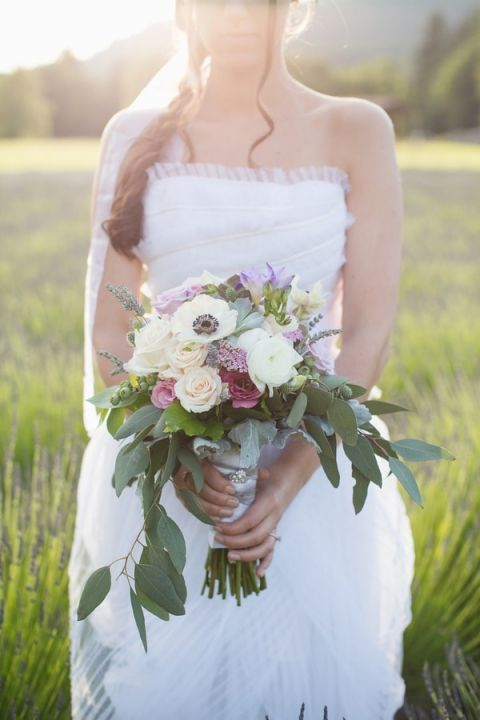 Romantic Bohemian Bouquet of Rose, Anemone, Eucalyptus, and Lavender