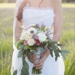 Romantic Bohemian Bouquet of Rose, Anemone, Eucalyptus, and Lavender   Ashley Cook Photography   Vintage Lace, Sunshine, and Lavender Fields Wedding Styled Shoot