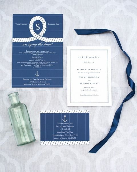 Nautical Rope Inspired Wedding Invitation | Shannon Moffit Photography | Classic and Elegant Navy Blue and Coral Nautical Wedding