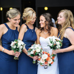 Chic Virginia Bay Bridesmaids | Shannon Moffit Photography | Classic and Elegant Navy Blue and Coral Nautical Wedding