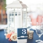 Nautical Rope Table Numbers with Lantern Centerpieces | Shannon Moffit Photography | Classic and Elegant Navy Blue and Coral Nautical Wedding