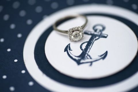 Diamond Halo Engagement Ring | Shannon Moffit Photography | Classic and Elegant Navy Blue and Coral Nautical Wedding