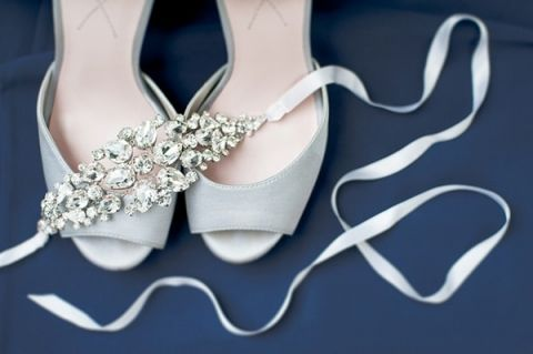 Crystal and Ribbon Bridal Sash | Shannon Moffit Photography | Classic and Elegant Navy Blue and Coral Nautical Wedding