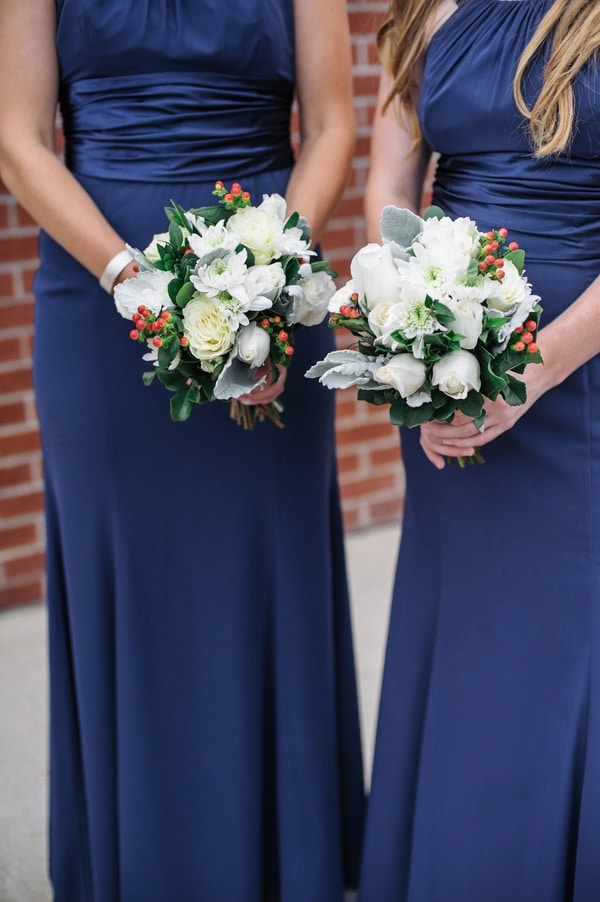 Floor Length Navy Blue Bridesmaids Dresses With White And C Bouquets Shannon Moffit Photography