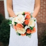 Ivory and Coral Bridal Bouquet | Shannon Moffit Photography | Classic and Elegant Navy Blue and Coral Nautical Wedding