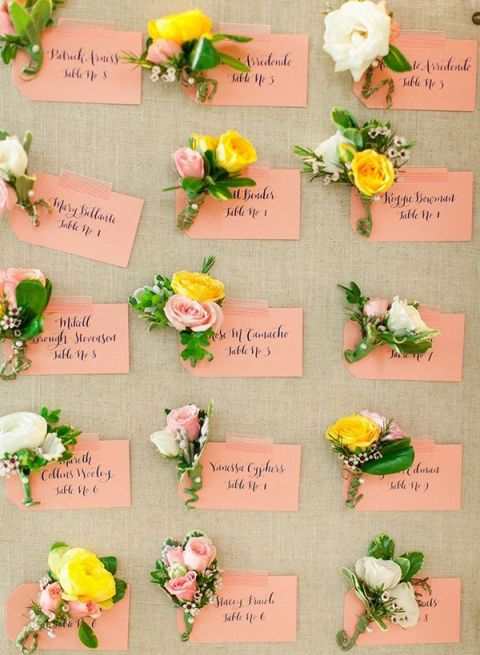 Floral Calligraphy Escort Cards | Jodi Miller Photography | Summer Sunshine and Citrus Wedding Inspiration in Pink and Yellow