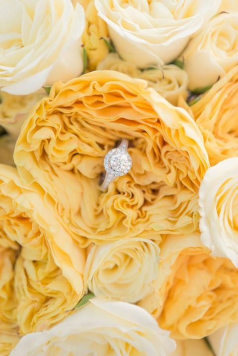Yellow Garden Roses and a Halo Engagement Ring | Mugshots Photography | Summer Sunshine and Citrus Wedding Inspiration in Pink and Yellow