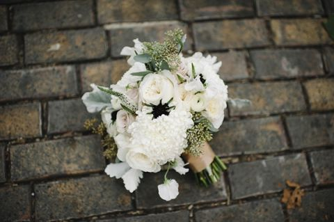 Textured Silver and White Winter Bouquet | Mindy Sue Photography | Wintery Blush and Slate Blue Wedding
