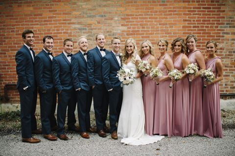 Slate Blue And Blush Bridal Party Mindy Sue Photography Wintery