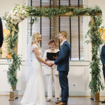 Elegant Greenery Arbor for an Indoor Ceremony | Mindy Sue Photography | Wintery Blush and Slate Blue Wedding