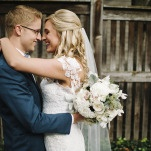 Romantic Backyard Wedding Portraits | Mindy Sue Photography | Wintery Blush and Slate Blue Wedding