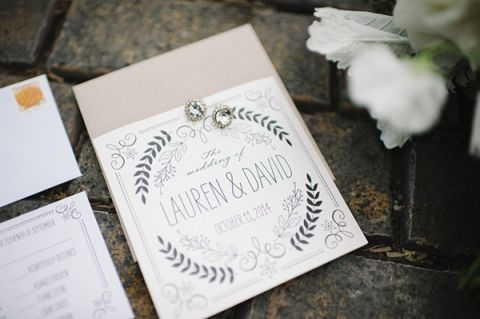 Black and White Botanical Wedding Invitation | Mindy Sue Photography | Wintery Blush and Slate Blue Wedding