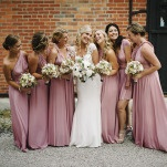 Floor Length Mauve Bridesmaids Dresses | Mindy Sue Photography | Wintery Blush and Slate Blue Wedding