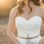Elegant Chiffon Sweetheart Wedding Dress with a Metallic Belt | Carlie Statsky Photography | Earthy and Organic Wedding Shoot in Soft Neutrals and Copper