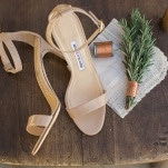 Taupe Manolo Blahnik Wedding Shoes | Carlie Statsky Photography | Earthy and Organic Wedding Shoot in Soft Neutrals and Copper