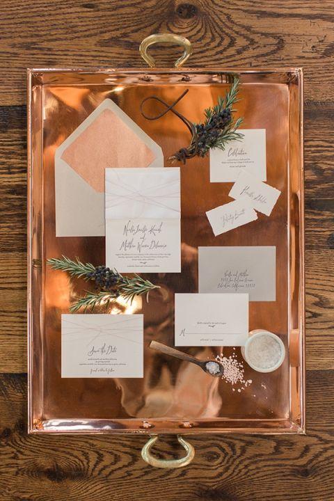 Copper Foil Wedding Invitations