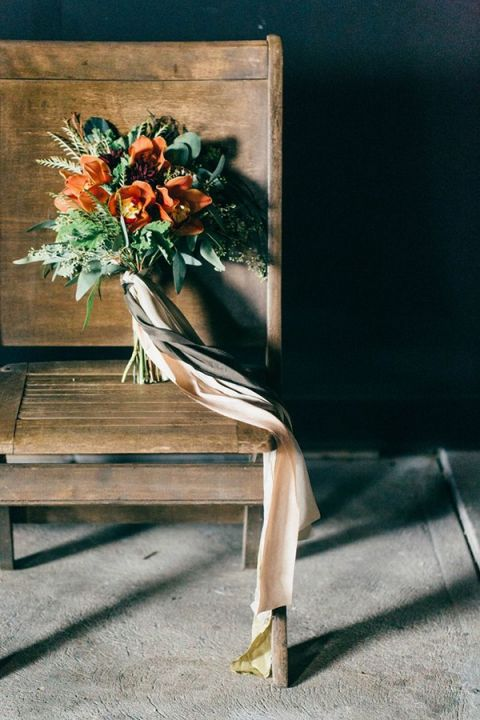 Black and Orange Bouquet with Trailing Ribbons | To Wander and To Seek Photography | Light and Shadow - Still Life Inspired Fine Art Wedding Styling in Moody Winter Shades