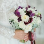 Purple, ivory, and Berry Bouquet with Silk Ribbons | Warmphoto | Exquisite Bridal Styling for a Modern Glam Wedding Day