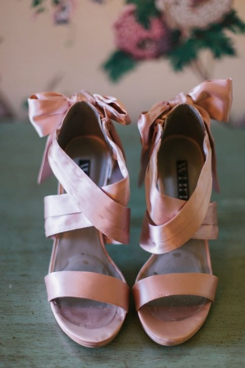 Pink Satin Ribbon Shoes | Harper Noel Photography | Georgia in the Fall - Southern Garden Wedding