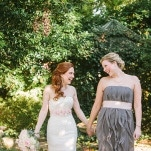 Sweet Bride and Bridesmaid Shot | Harper Noel Photography | Georgia in the Fall - Southern Garden Wedding