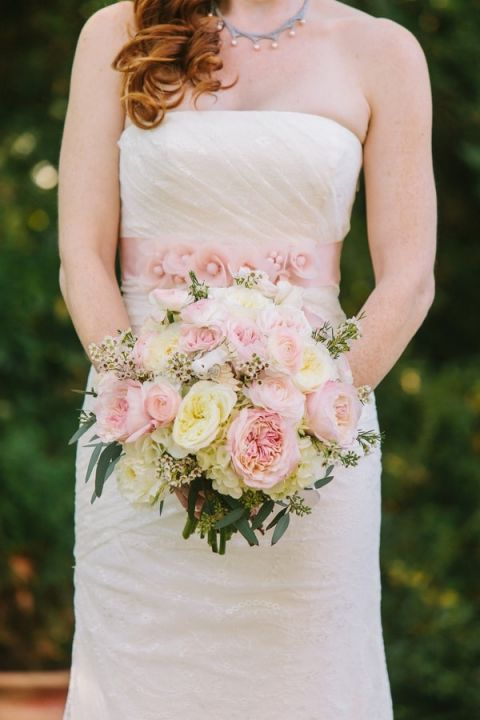 Pink Bouquet and Bridal Sash | Harper Noel Photography | Georgia in the Fall - Southern Garden Wedding