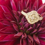 Vintage Gold and Diamond Engagement Ring | Samantha Kirk Photography | Red Velvet - Luxe Winter Styling in Leather and Lace