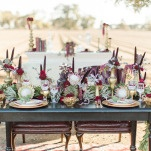 Richly Detailed Botanical Sweetheart Table | Samantha Kirk Photography | Red Velvet - Luxe Winter Styling in Leather and Lace
