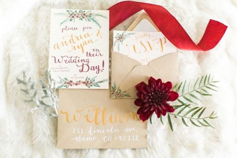 Winter Red and Gold Calligraphy Wedding Invitations