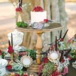 Black Lacquer and Gold Dessert Display with Green and Red Florals | Samantha Kirk Photography | Red Velvet - Luxe Winter Styling in Leather and Lace
