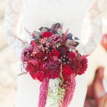 Vibrant Red and Berry Winter Bouquet | Samantha Kirk Photography | Red Velvet - Luxe Winter Styling in Leather and Lace