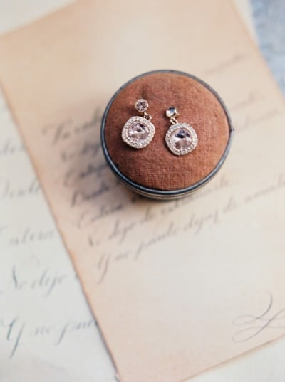Love Letters and Vintage Earrings | Taylor Lord | Barely There - Fawn Brown and Blush Wedding Inspiration