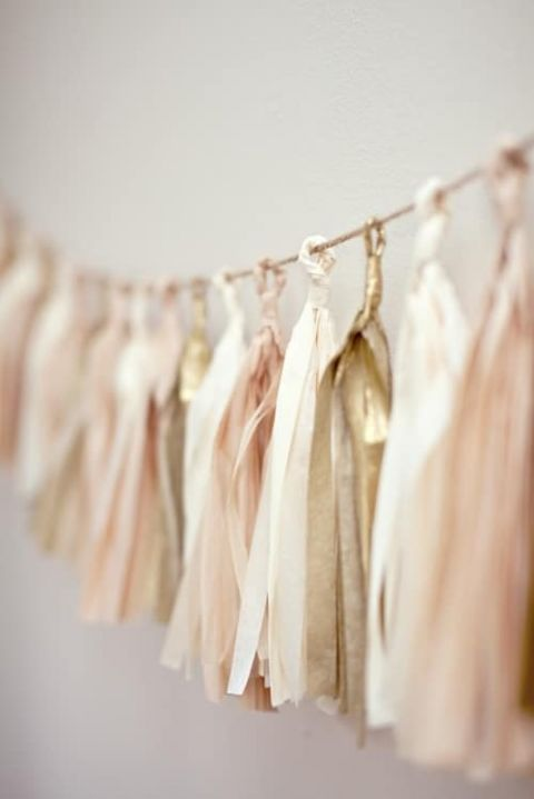 Tissue Tassel Garland | Your Cloud Parade | Barely There - Fawn Brown and Blush Wedding Inspiration