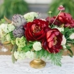 Crimson Peony and Artichoke Centerpiece | Memorable Jaunts | Ivory, Burgundy and Gold Wedding Styling at Castle Cliff Estates