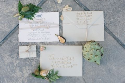 Neutral and Gold Calligraphy Wedding Invitation | Memorable Jaunts | Ivory, Burgundy and Gold Wedding Styling at Castle Cliff Estates