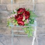 Stunning Fern and Burgundy Peony Bouquet   Memorable Jaunts   Ivory, Burgundy and Gold Wedding Styling at Castle Cliff Estates