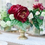 Lush Peony Centerpieces in Gold Compote Vessels | Memorable Jaunts | Ivory, Burgundy and Gold Wedding Styling at Castle Cliff Estates