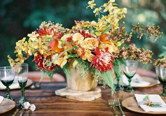 Bold and colorful fall wedding in burgundy orange