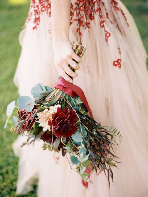 Red and Blush Floral Wedding Dress with Burgundy Bouquet | Jeff Brummett Visuals | Bold and Colorful Fall Wedding in Burgundy, Orange, and Teal