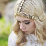 Gold Boho Bridal Headpiece | Cassandra Farley Photography | Winter Woodlands Wedding with Rich Bohemian Details and Luxe Jewel Tones