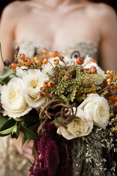 Burgundy Bouquet with a Metallic Gold Wedding Dress