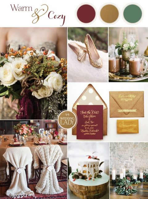 Cozy Holiday Wedding in Burgundy and Gold