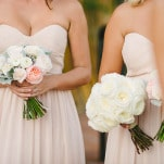 Bridesmaids in Floor Length Blush Dresses | Vitaly M Photography | Black Tie Coastal Wedding with Classic Beach Details