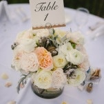 Chic Neutral Centerpieces | Vitaly M Photography | Black Tie Coastal Wedding with Classic Beach Details
