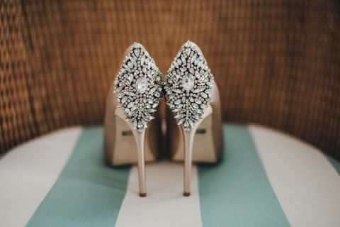 Jeweled Champagne Wedding Shoes | Vitaly M Photography | Black Tie Coastal Wedding with Classic Beach Details