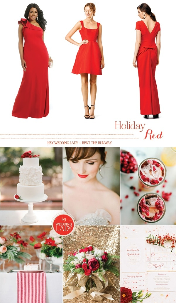 Bold Red Designer Wedding and Holiday Style from Rent the Runway!