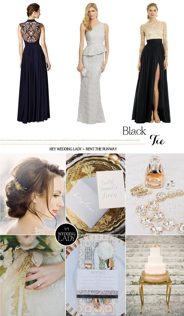 Elegant and Classic Black Tie Designer Wedding and Holiday Style from Rent the Runway!